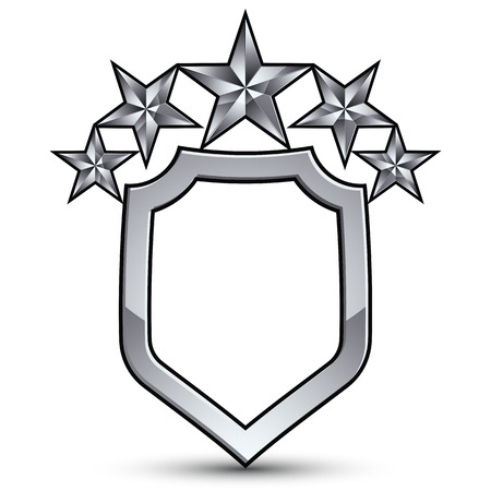 Festive vector emblem with silver outline and five decorative pentagonal stars, 3d royal conceptual design element, clear eps8. Symbolic coat of arms isolated on white background. Heraldic escutcheon.