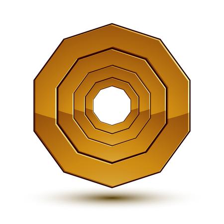 estrellas cinco puntas: Heráldico icono brillante 3D se puede utilizar en diseño web y gráfico, estrellas de oro de cinco puntas, EPS claros 8 vector.