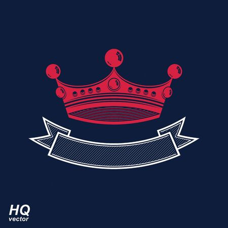 undulate: Vector imperial crown with undulate ribbon. Classic coronet with decorative curvy ribbon. King regalia design element. Illustration