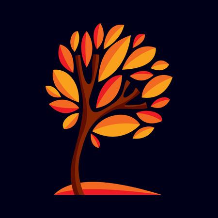 symbol decorative: Artistic stylized natural design symbol, decorative beautiful tree illustration. Can be used as ecology and environmental conservation theme.  Inspiration seasonal image.