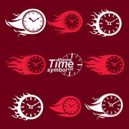 clear out: Time is running out concept, vector invert timers with burning flame. Eps 8 clear vector illustrations. Set of deadline theme stylized illustrations. Illustration