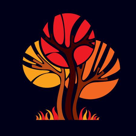 naranja arbol: Arte ejemplo de hadas del árbol, símbolo del eco estilizado. Imagen vectorial Insight sobre la idea temporada, hermosa imagen.