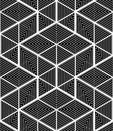 Endless monochrome symmetric pattern, graphic design. Geometric intertwine optical composition, superimpose. Illustration
