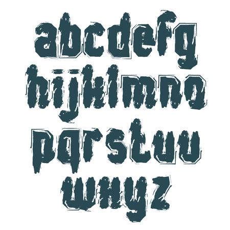 lettre alphabet: Monochrome lettres minuscules manuscrites, vecteur doodle brosse dactylographi�es, jeu de lettres avec des coups de pinceau peint � la main.