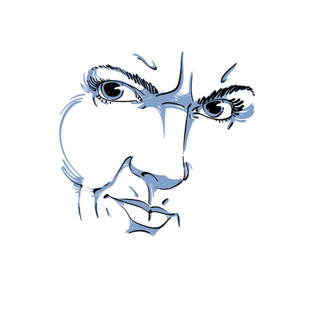 arrogant: Hand-drawn illustration of woman face, black and white mask with emotions. Features of angry girl with wrinkles on her forehead, posing for portrait.