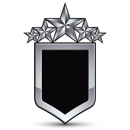 Festive black vector emblem with outline and five silver decorative pentagonal stars, 3d royal conceptual design element, clear eps8. Symbolic coat of arms isolated on white background. Heraldic escutcheon.