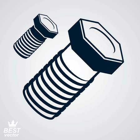 3d  bolt: 3d vector elegant bolt, additional version included. True stylized built instrument – fix tool, stylized web manufacturing illustration. Construction idea.