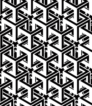 intertwine: Monochrome abstract interweave geometric seamless pattern. Vector black and white illusory backdrop with three-dimensional intertwine figures. Graphic contemporary covering.