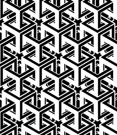 figuras abstractas: Monocromo abstracto entretejido patrón transparente geométrica. Vector blanco y negro telón de fondo ilusorio con figuras Intertwine tridimensionales. Cubierta contemporánea Gráfico. Vectores