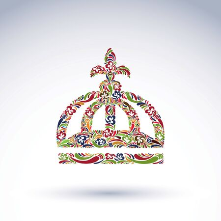 emperor: Elegant flower-patterned bright crown with Christianity cross, emperor accessory. Royal and spiritual art vector design element isolated on white background.