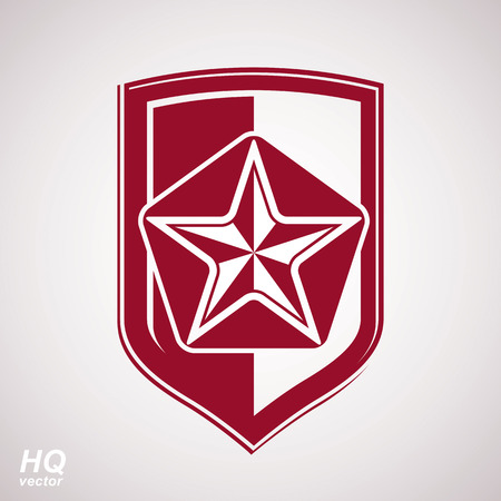 communistic: Vector shield with a red pentagonal Soviet star, protection heraldic blazon. Communism and socialism conceptual symbol. Ussr design element.