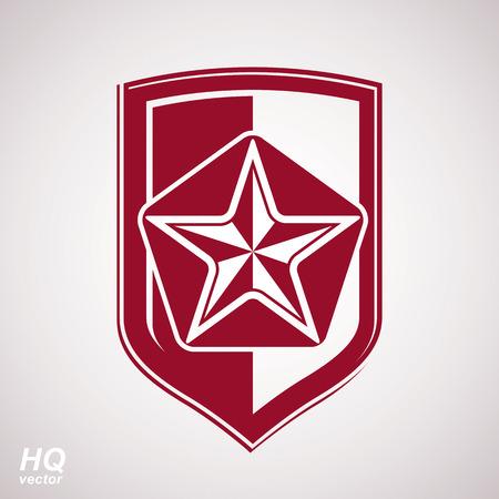 conceptual symbol: Vector shield with a red pentagonal Soviet star, protection heraldic blazon. Communism and socialism conceptual symbol. Ussr design element.