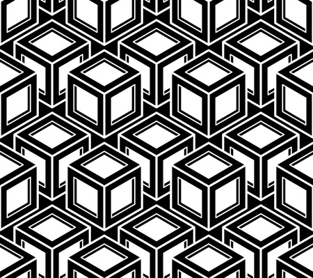 superimpose: Geometric seamless pattern, endless black and white vector regular background. Abstract covering with 3d superimpose figures. Illustration