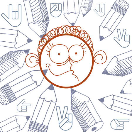 skeptic: Vector hand drawn cartoon happy boy. Education theme graphic design elements isolated. Social conversation idea drawing.