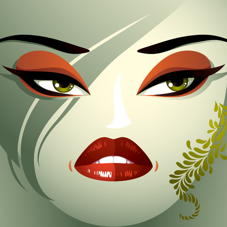 eyebrows: Cosmetology theme image. Young pretty lady with fashionable haircut. Human eyes, lips and eyebrows reflecting a facial expression, anger and contempt. Illustration