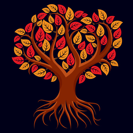 autumn tree: Vector art illustration of branchy tree with strong roots. Tree of life symbolic graphic image, environment conservation theme.