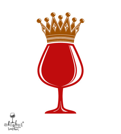 revelry: Sophisticated luxury wineglass with golden imperial crown. Leisure and lifestyle theme vector goblet. Rendezvous conceptual illustration.