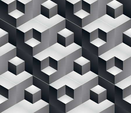 охватывающей: Geometric seamless pattern, endless black and white vector regular background. Abstract covering with 3d cubes and squares.