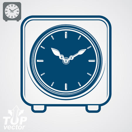 interim: Vector square table clock with simple clockwise, includes additional version. Eps 8 high quality detailed illustration. Web design element – business time management icon.