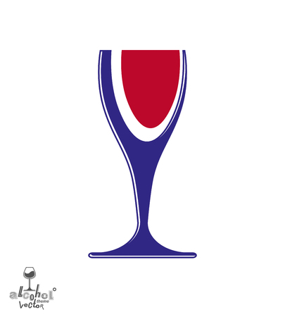 rendezvous: Beautiful vector sophisticated wine goblet, stylish alcohol theme illustration. Artistic wineglass, romantic rendezvous idea. Lifestyle graphic design element. Illustration