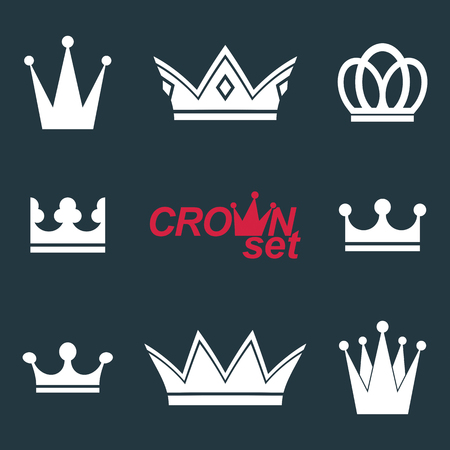 coronet: Business conceptual icons, can be used in graphic and web design. Set of vector vintage crowns, luxury ornate coronet illustration. Collection of royal luxury design element.