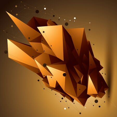 spatial: Spatial technological golden shape, polygonal bright wireframe object.