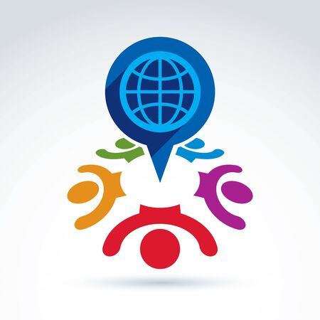 hands holding globe: Society and organizations taking care about the world, global peace wealth and ecology theme icon, vector conceptual stylish symbol for your design. Illustration
