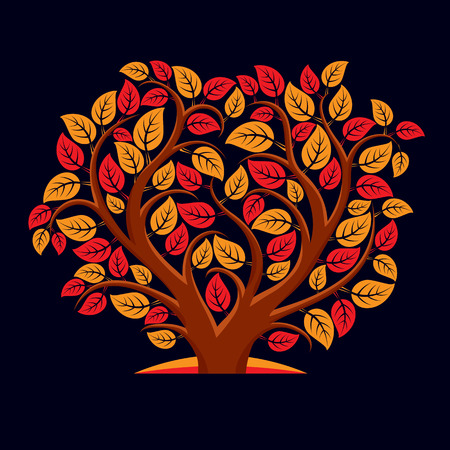 love image: Vector illustration of tree with decorative leaves and branches in the shape of heart. Beautiful image on ecology theme. Love nature and environment conceptual illustration. Illustration