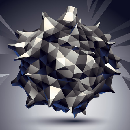 spatial: 3D vector abstract design object, polygonal complicated figure. Grayscale deformed shape, render.