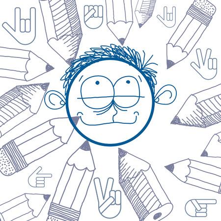temperamento: Arte del vector colorido dibujo de persona feliz, educaci�n y sociales elementos de dise�o de la red aislados en blanco. Ilustraci�n Alegor�a, las emociones y el concepto de temperamento humano. Vectores