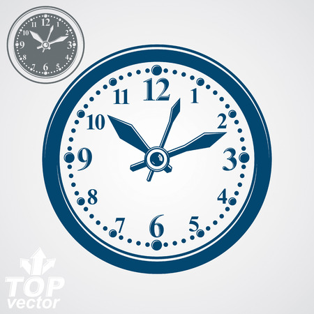 clockwise: Simple vector wall clock with stylized clockwise, additional version included. Business time idea classic graphic symbol. Time management conceptual elegant symbol. Web design element. Illustration