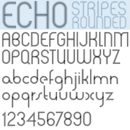 echo: Poster echo black font and numbers on white background, striped letters with rounded corners. Illustration