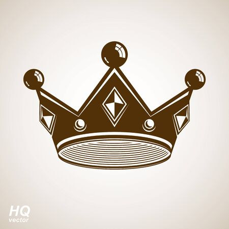 regal: Royal design element, regal icon. Vector majestic crown, luxury stylized coronet illustration. King and queen regalia – imperial eps8 symbol. Illustration