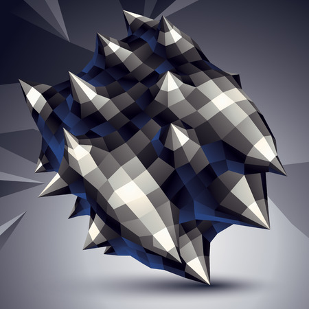 facet: 3D modern stylish abstract construction, origami facet object constructed from different geometric parts.