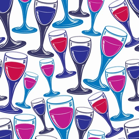 rendezvous: Sophisticated wine goblets continuous backdrop, stylish alcohol theme pattern. Classic wineglasses, romantic rendezvous idea.