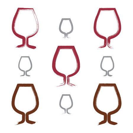 brandy: Set of hand-painted simple empty brandy glasses isolated on white background, collection of cognac goblet icons, created with real hand-drawn ink brush scanned and vectorized.