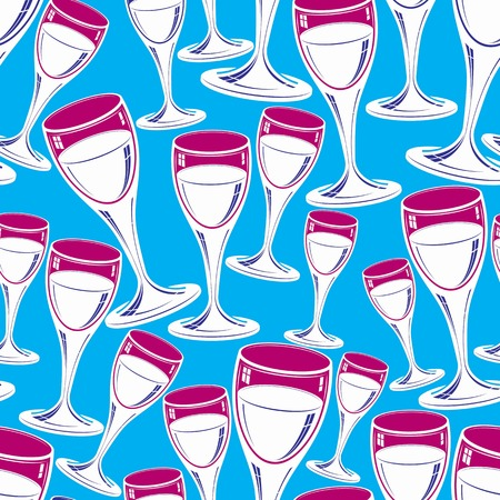 sophisticated: Sophisticated wine goblets continuous vector backdrop, stylish alcohol theme pattern. Classic wineglasses, romantic rendezvous idea. Illustration