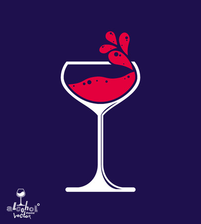 rendezvous: Simple vector wine goblet with splash, alcohol idea illustration. Stylized artistic glass of wine, romantic rendezvous object over dark backdrop.