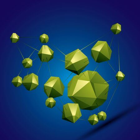 deformed: 3D vector abstract design object, polygonal complicated figures. Colorful three-dimensional deformed connected shapes, render.