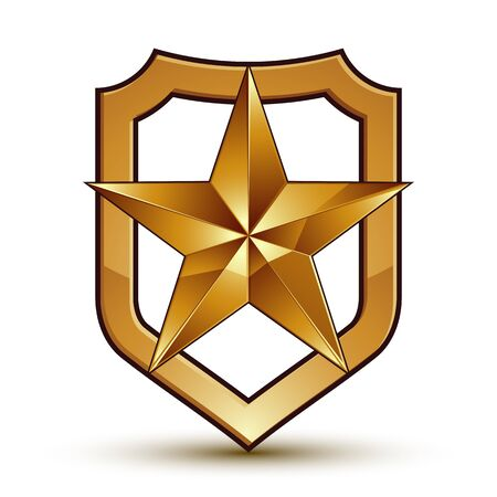 glamorous: Sophisticated vector blazon with a golden star emblem, 3d pentagonal glamorous design element, clear EPS 8.
