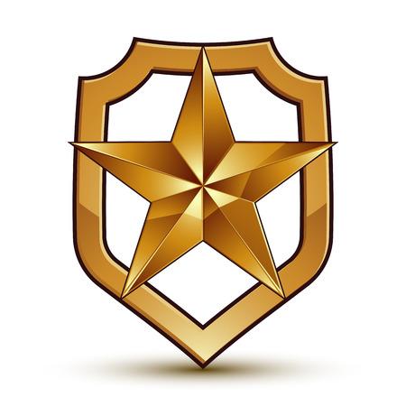3d heraldische vector sjabloon met vijfhoekige gouden ster, dimensionaal koninklijke geometrische medaillon op een witte achtergrond.