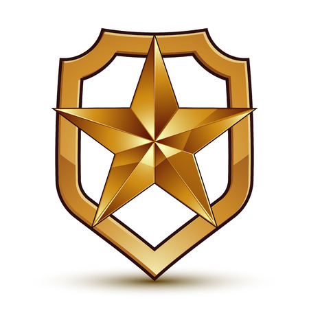 3d heraldic vector template with pentagonal golden star, dimensional royal geometric medallion isolated on white background.