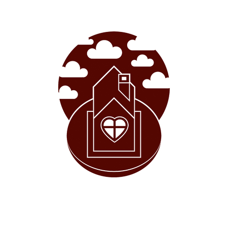 country house: Country house front view with heart symbol. Conceptual family theme vector illustration, harmony at home.