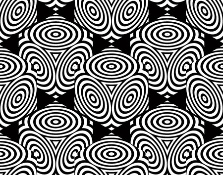 intertwine: Endless monochrome symmetric pattern, graphic design. Geometric intertwine optical oval composition. Illustration