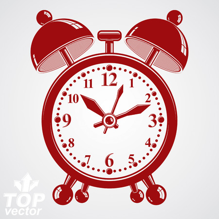 clang: Alarm clock vector 3d illustration, wake up conceptual icon. Graphic dimensional clock with clang bells isolated on white background. Waiter ringing symbol. Illustration