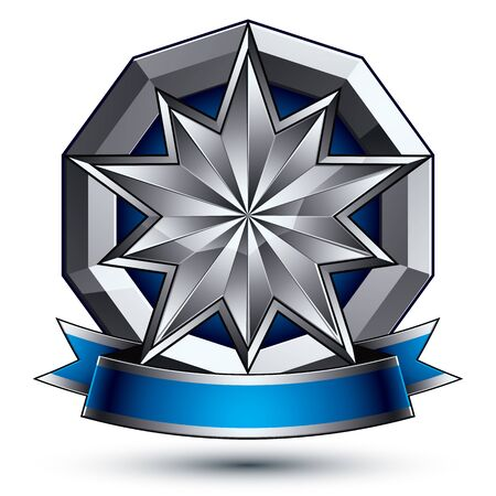 awarded: 3d vector classic royal symbol, sophisticated silver round emblem with polygonal star isolated on white background, glossy argent element with blue splendid ribbon.