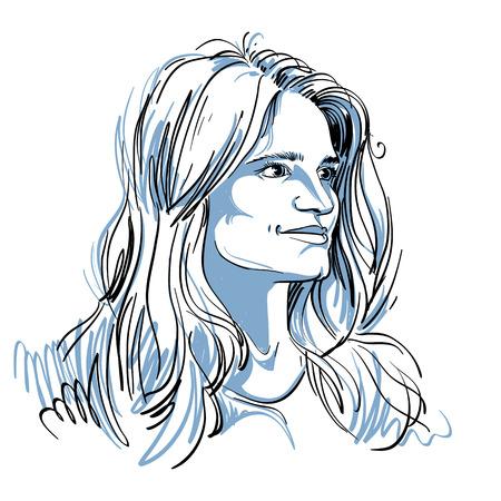 생각에 잠겨있는: Vector portrait of attractive pensive woman, illustration of good-looking romantic female. Person emotional face expression.