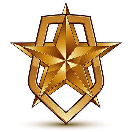 glamorous: Vector stylized symbol isolated on white background.  Glamorous pentagonal golden star, clear EPS 8, symbolic insignia, aristocratic blazon. Illustration