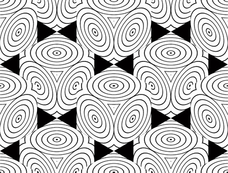 superimpose: Contrast black and white symmetric seamless pattern with interweave circle figures. Continuous geometric composition, for use in graphic design.