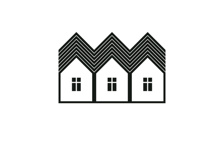 homely: Abstract simple country houses vector illustration, homes image. Touristic and real estate idea, three cottages front view. Real estate business or property developer theme. Illustration